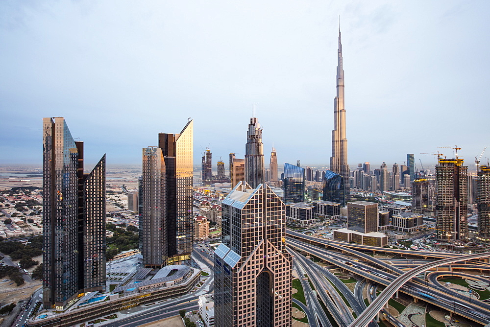 Burj Khalifa and Dubai Mall skyline, Dubai, United Arab Emirates, Middle East