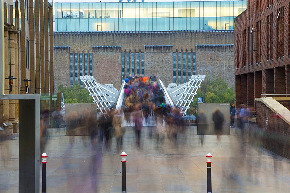 Millennium Bridge and the Tate Gallery, London, England, United Kingdom, Europe