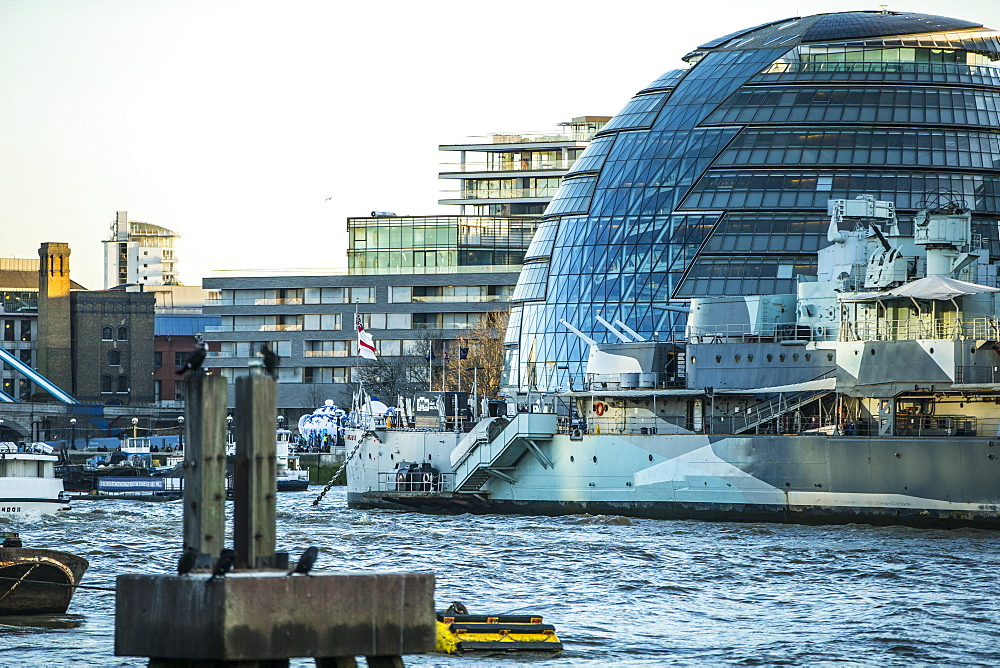 City Hall and HMS Belfast, London, England, United Kingdom, Europe