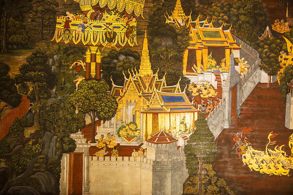 Mural at Grand Palace, Bangkok, Thailand, Southeast Asia, Asia - 728-6390