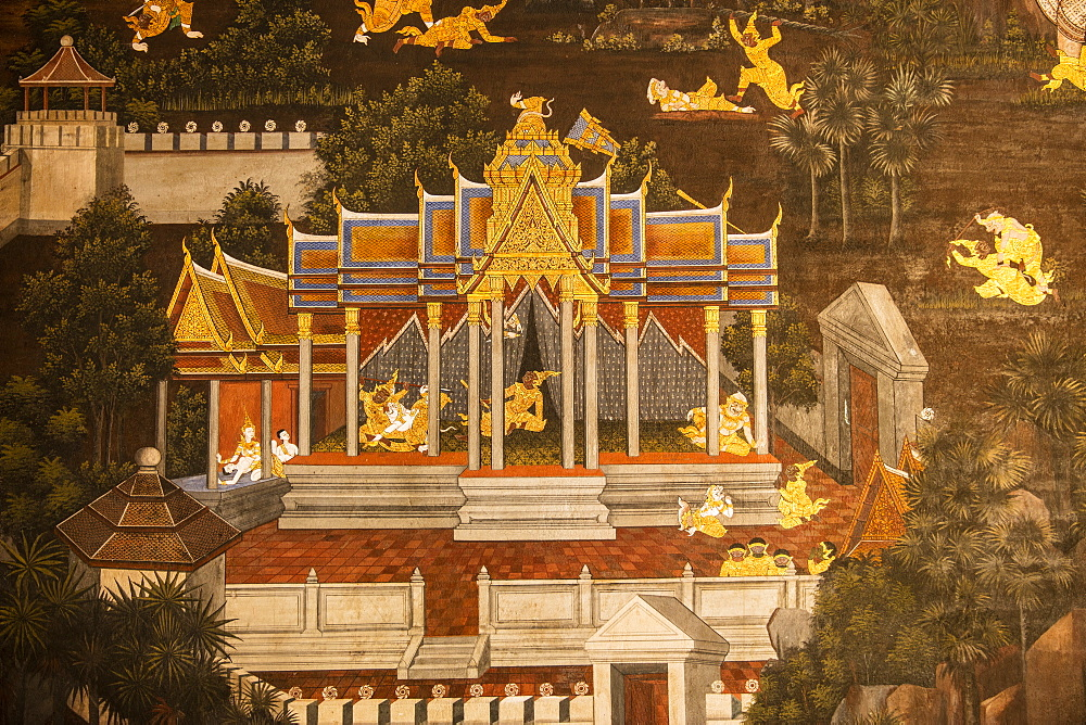 Mural at Grand Palace, Bangkok, Thailand, Southeast Asia, Asia - 728-6391