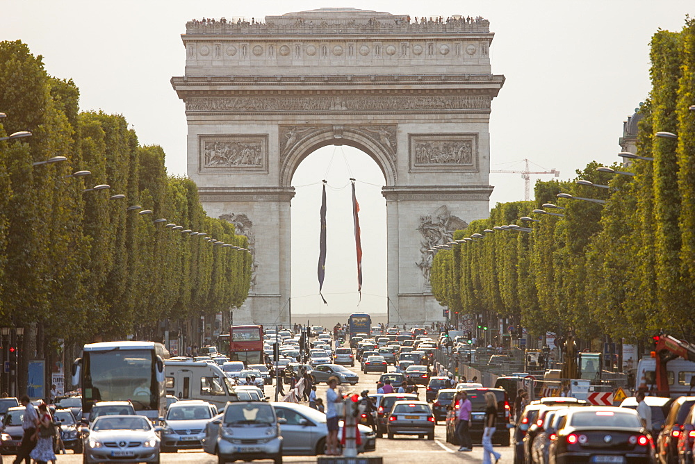 Champs Elysees and Arc de Triomphe, Paris, France, Europe - 728-6408