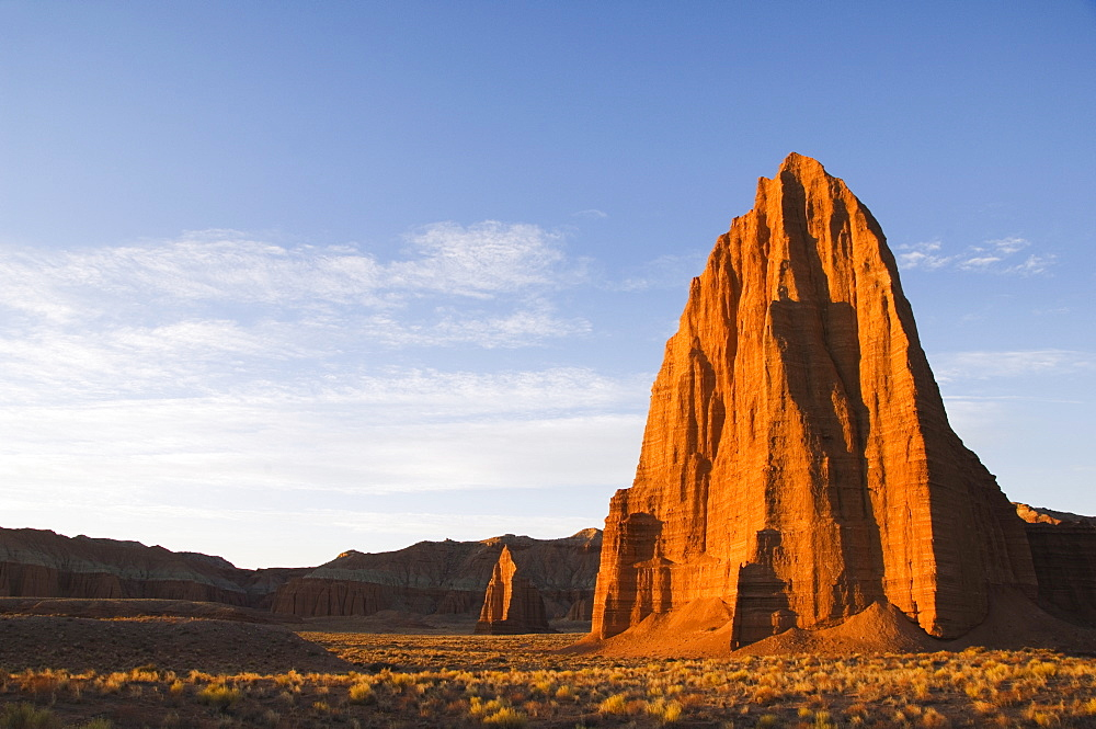 Sunrise at the Temple of the Sun and smaller Temple of the Moon in Cathedral Valley, Capitol Reef National Park, Utah, United States of America, North America