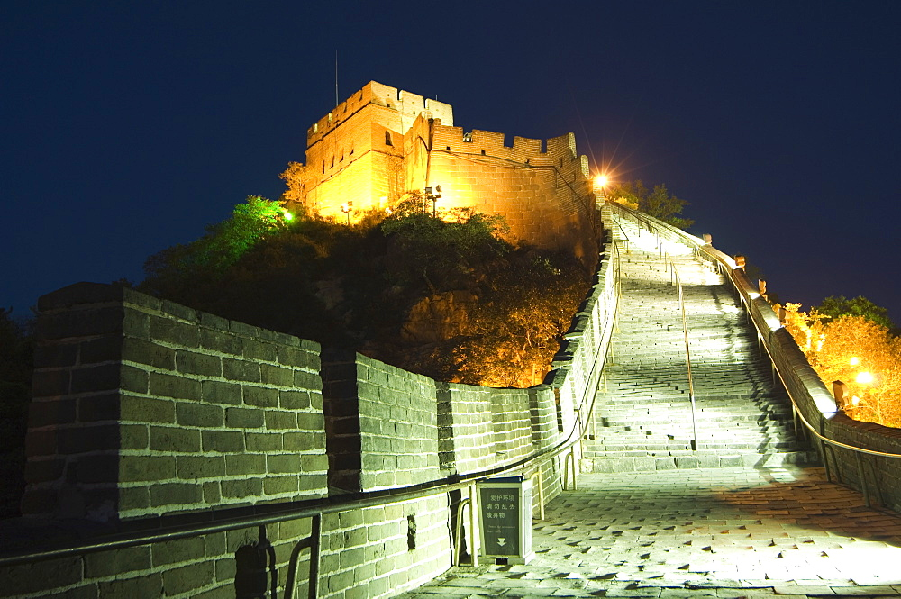 Illuminations on the Great Wall of China at Badaling, first built during the Ming dynasty between 1368 and 1644, restored in the 1980s, UNESCO World Heritage Site, near Beijing, Hebei Province, China, Asia