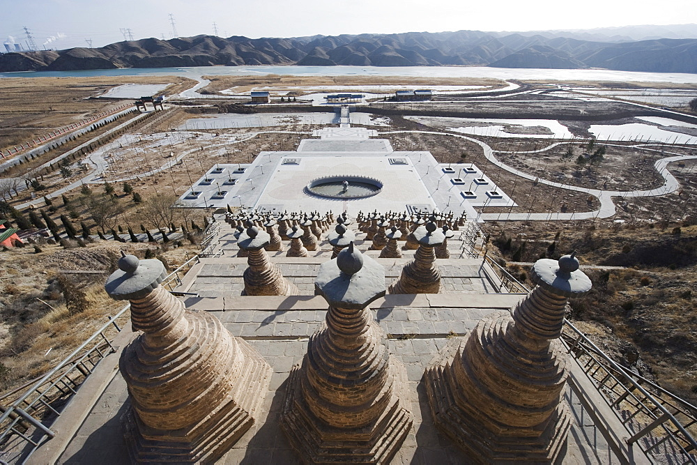 108 Dagobas, Buddhist temple in Qingtongxia, Ningxia Province, China, Asia - 733-3208