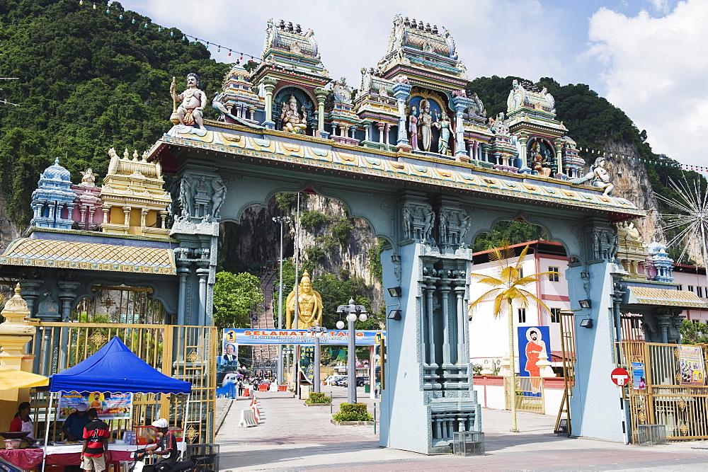 Entrance gate of the Hindu Shrine at Batu Caves, Kuala Lumpur, Malaysia, Southeast Asia, Asia