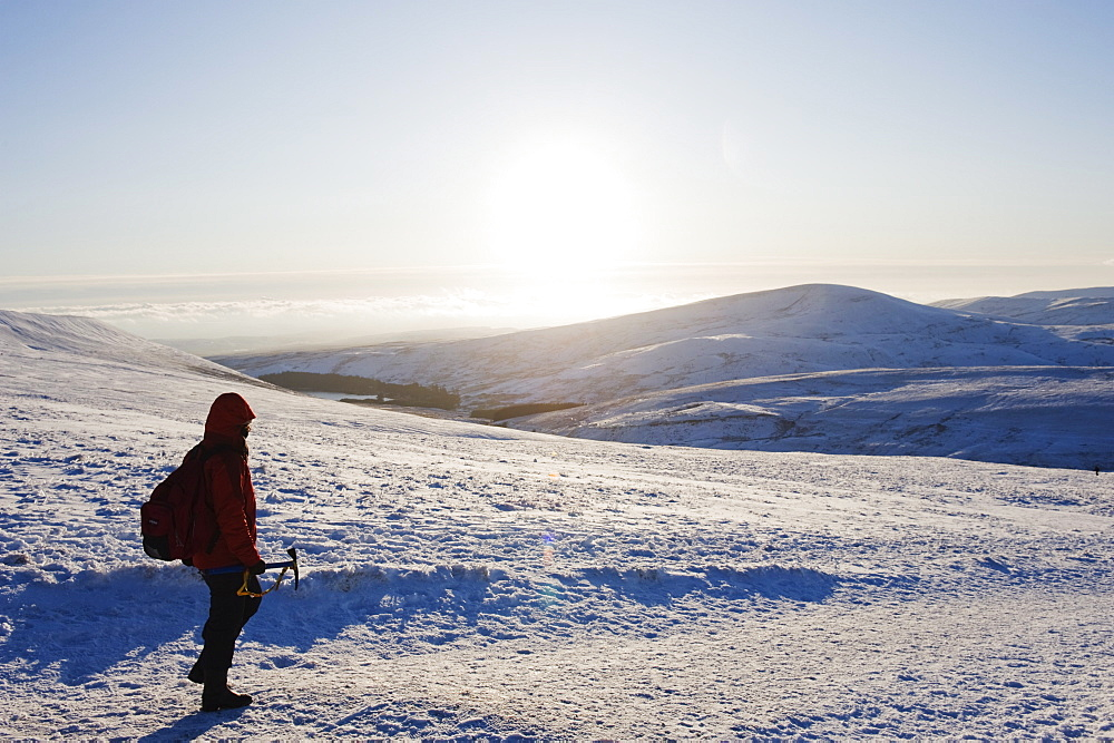 Hiker on snow covered Pen y Fan mountain, Brecon Beacons National Park, Powys, Wales, United Kingdom, Europe