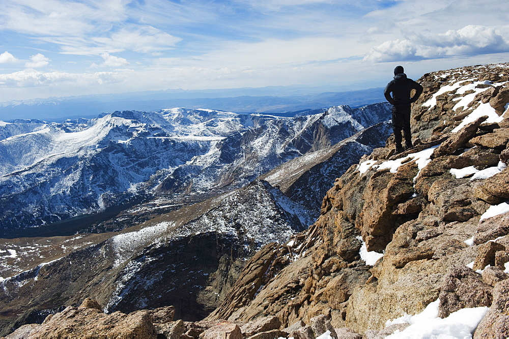 Hiker on Longs Peak Trail, Rocky Mountain National Park, Colorado, United States of America, North America