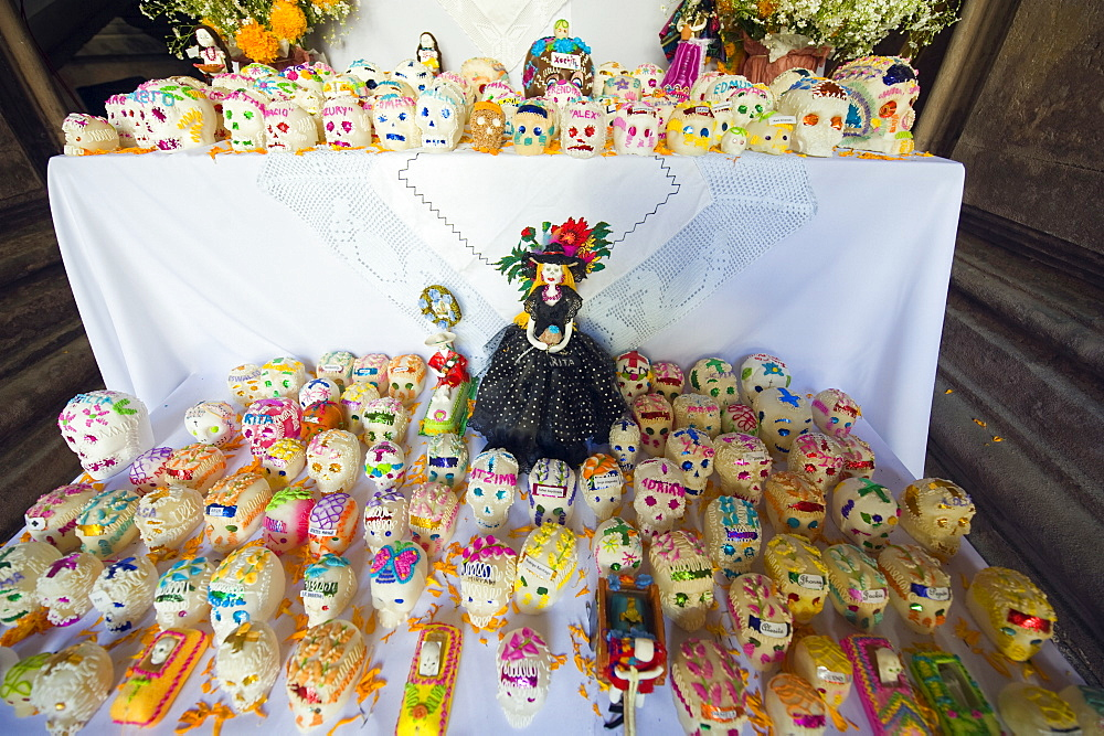 Wax skulls as decorations on display, Dia de Muertos (Day of the Dead), Morelia, Michoacan state, Mexico, North America - 733-4772