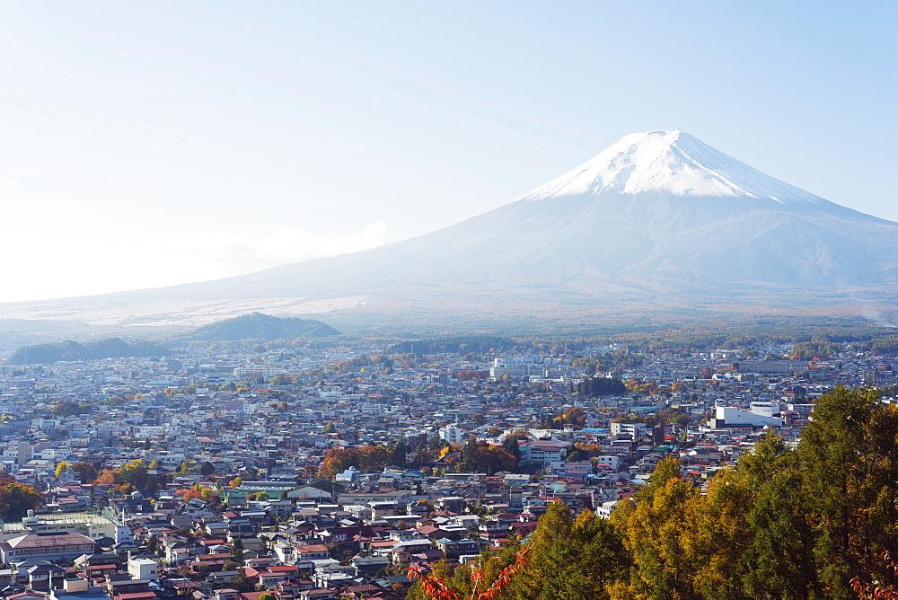 Mount Fuji, 3776m, UNESCO World Heritage Site, and autumn colours, Honshu, Japan, Asia