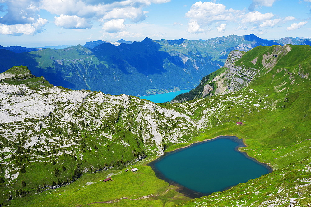 Mountain lake above lake Interlaken, Jungfrau-Aletsch, UNESCO World Heritage Site, Swiss Alps, Switzerland, Europe