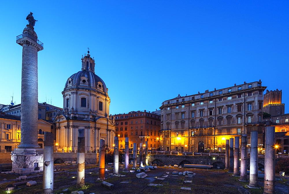 Church of Santa Maria di Loreto and Roman ruins, Rome, Lazio, Italy, Europe