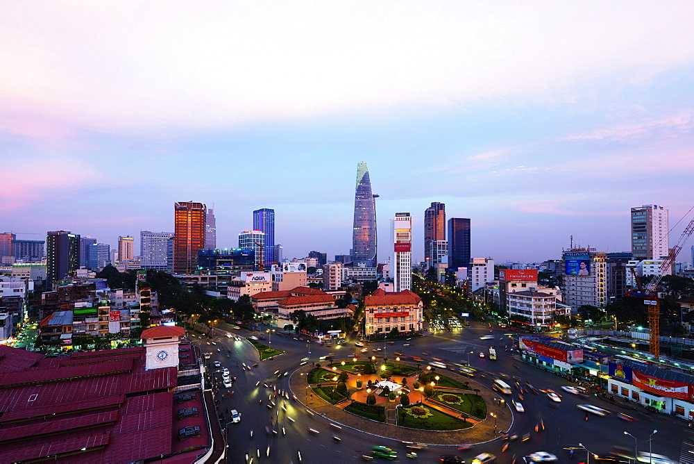 Ben Thanh market area and Bitexco Financial Tower, Ho Chi Minh City (Saigon), Vietnam, Indochina, Southeast Asia, Asia