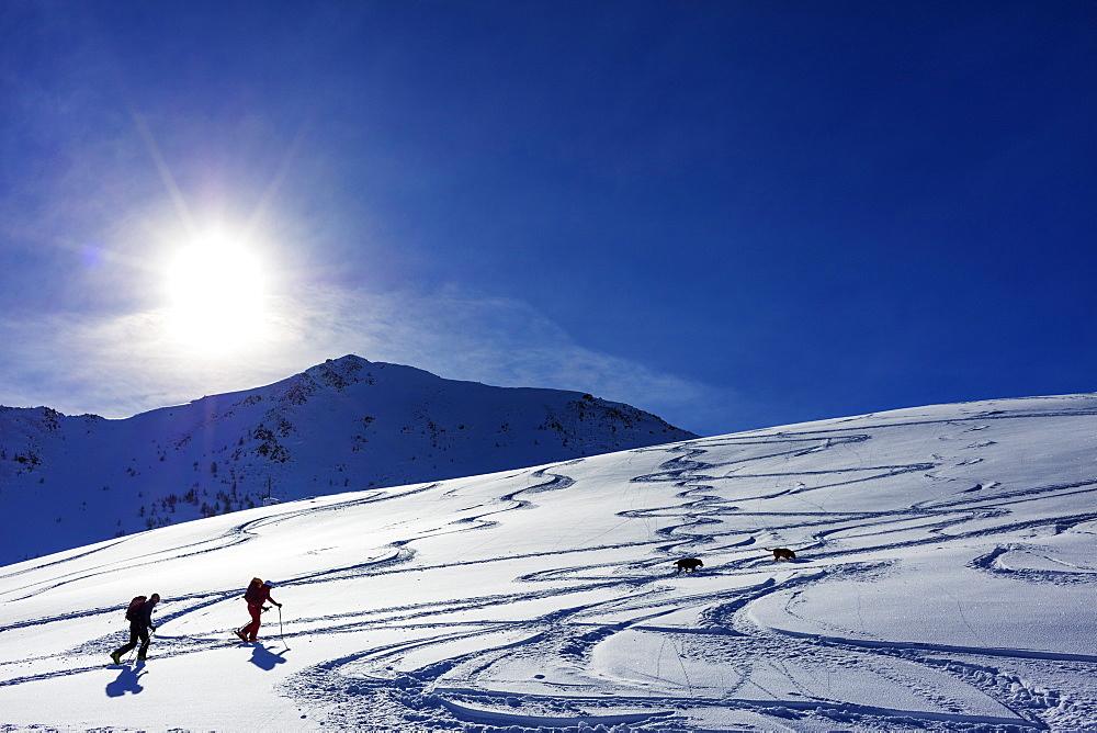 Ski touring near Martigny at Col de la Forclaz, Valais, Swiss Alps, Switzerland, Europe