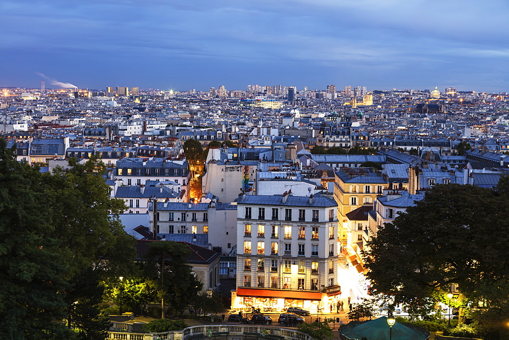 City skyline from Montmartre, Paris, France, Europe