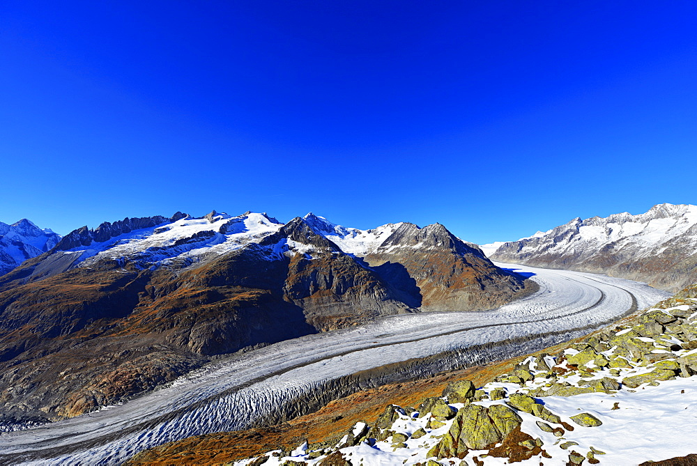 Aletsch glacier, Jungfrau-Aletsch, UNESCO World Heritage Site, Valais, Swiss Alps, Switzerland, Europe