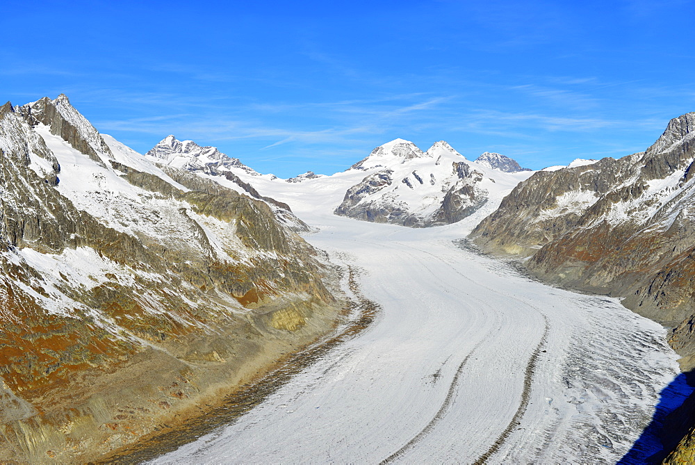 Aletsch glacier, Monch, 4107m, and Trugbe, Jungfrau-Aletsch, UNESCO World Heritage Site, Valais, Swiss Alps, Switzerland, Europe