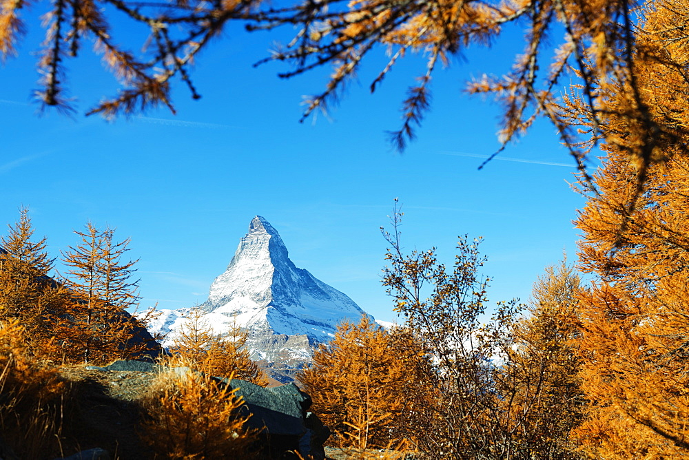 The Matterhorn, 4478m, in autumn, Zermatt, Valais, Swiss Alps, Switzerland, Europe