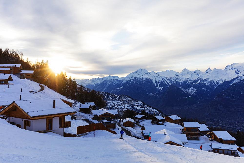 Sunset, Veysonnaz (Verbier), 4 Vallees, Valais, Swiss Alps, Switzerland, Europe