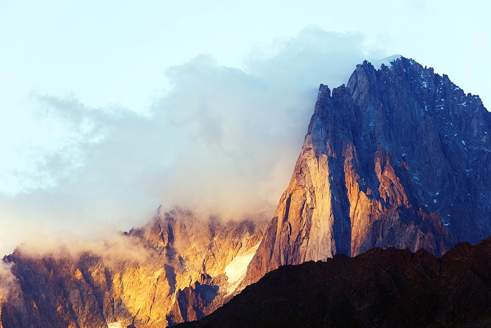 Europe, France, Haute Savoie, Rhone Alps, Chamonix, Les Drus and Aiguille Verte (4122m)