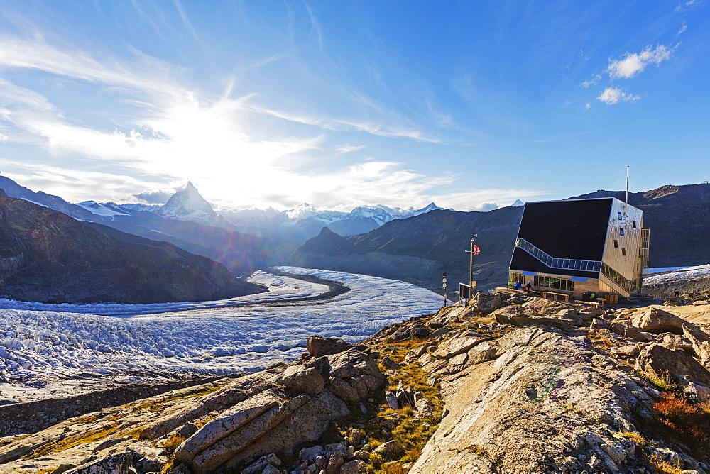 Western Europe, Switzerland, Swiss Alps, Valais, Zermatt, Monte Rosa hut and the Matterhorn (4478m)