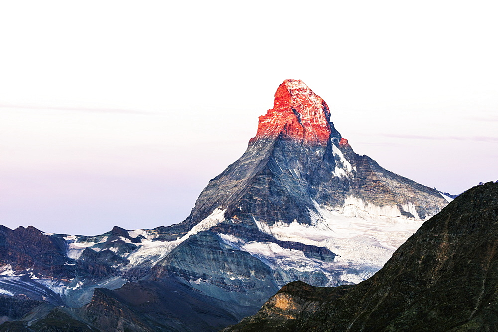 The Matterhorn, 4478m, at sunrise, Zermatt, Valais, Swiss Alps, Switzerland, Europe
