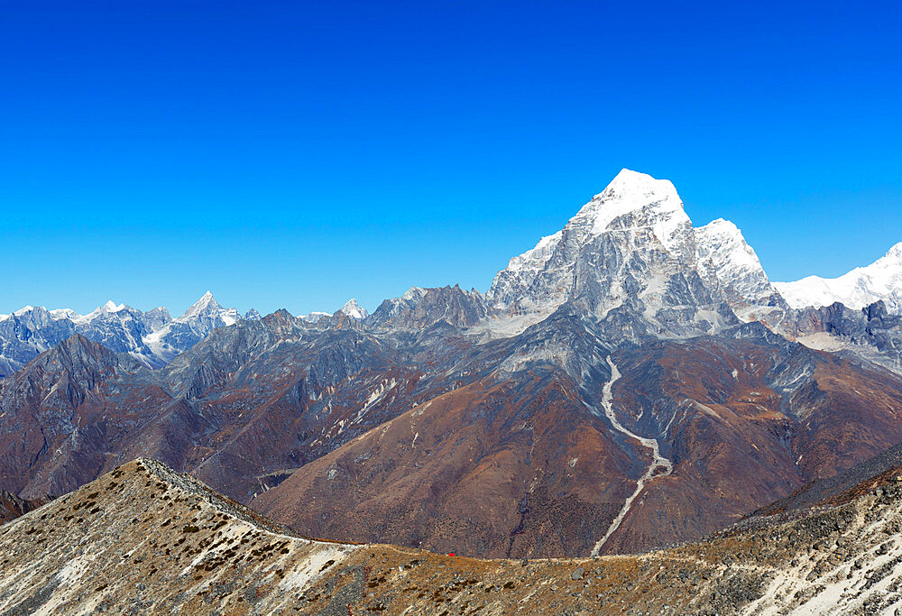 Tent pitched on Ama Dablam with Tobuche, 6495m, Sagarmatha National Park, UNESCO World Heritage Site, Khumbu Valley, Nepal, Himalayas, Asia
