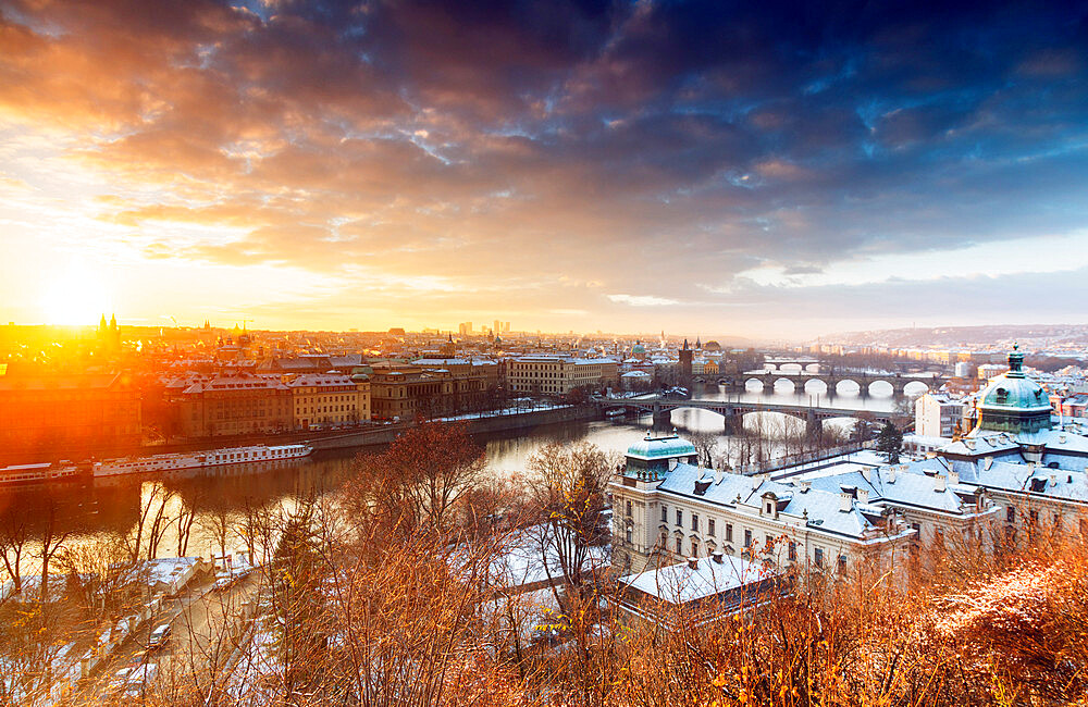 Bridges crossing the Vltava River at sunrise, Prague, Czech Republic, Europe - 733-7773
