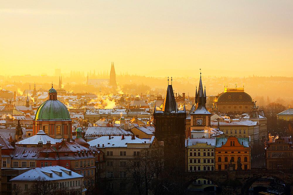 City rooftop skyline, Prague, Czech Republic, Europe