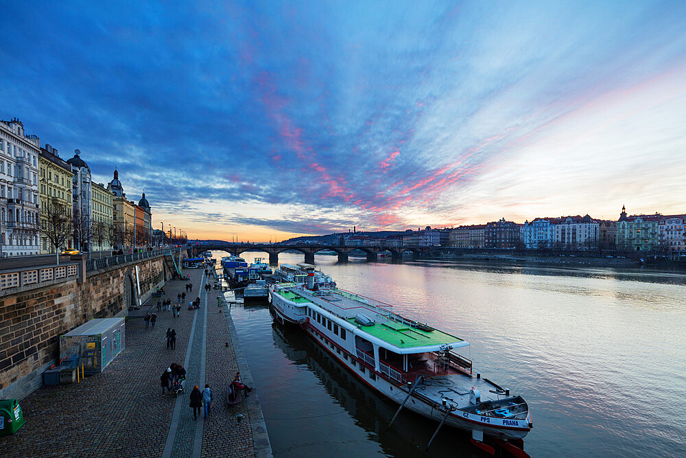 Canal boat on Vltava River, Prague, Czech Republic, Europe