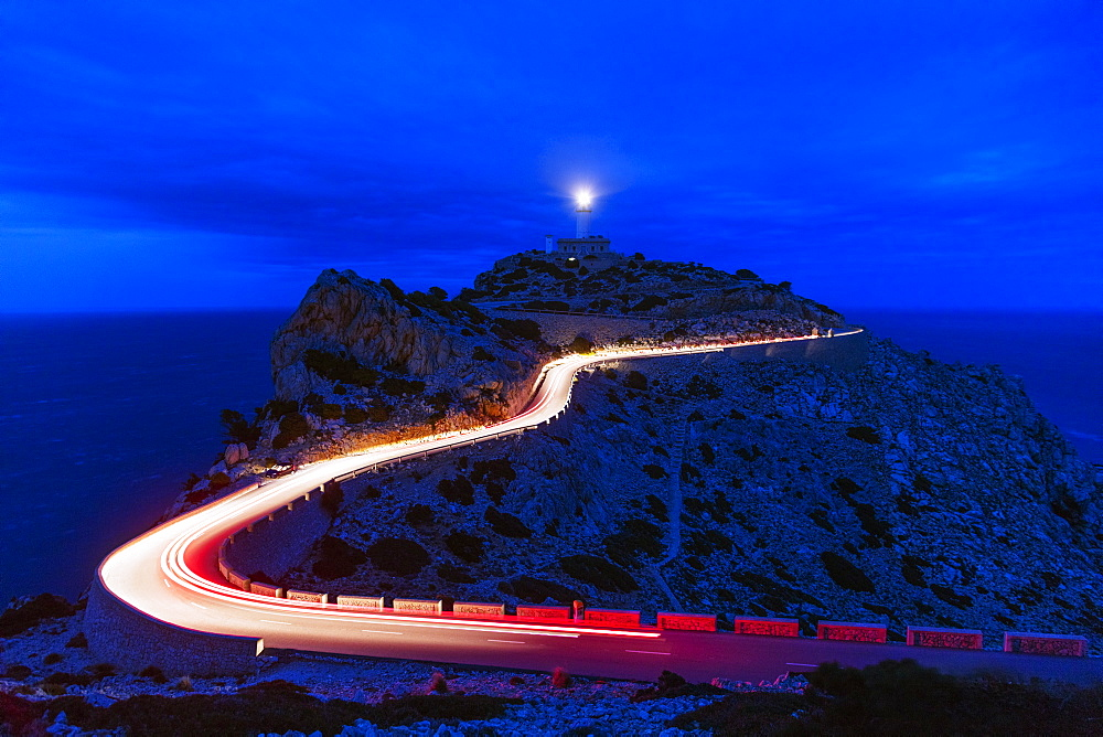 Car light trails, Cap Formentor lighthouse, Majorca, Balearic Islands, Spain, Mediterranean, Europe