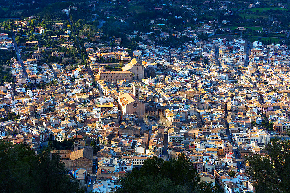 Europe, Spain, Balearic Islands, Mallorca, Pollenca, aerial view of old town and Monti Sion church