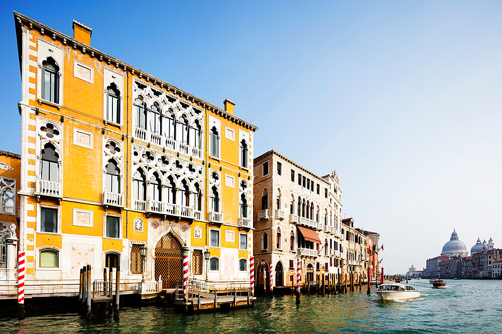 Historic Venetian buildings on the Grand Canal, Venice, UNESCO World Heritage Site, Veneto, Italy, Europe - 733-7862