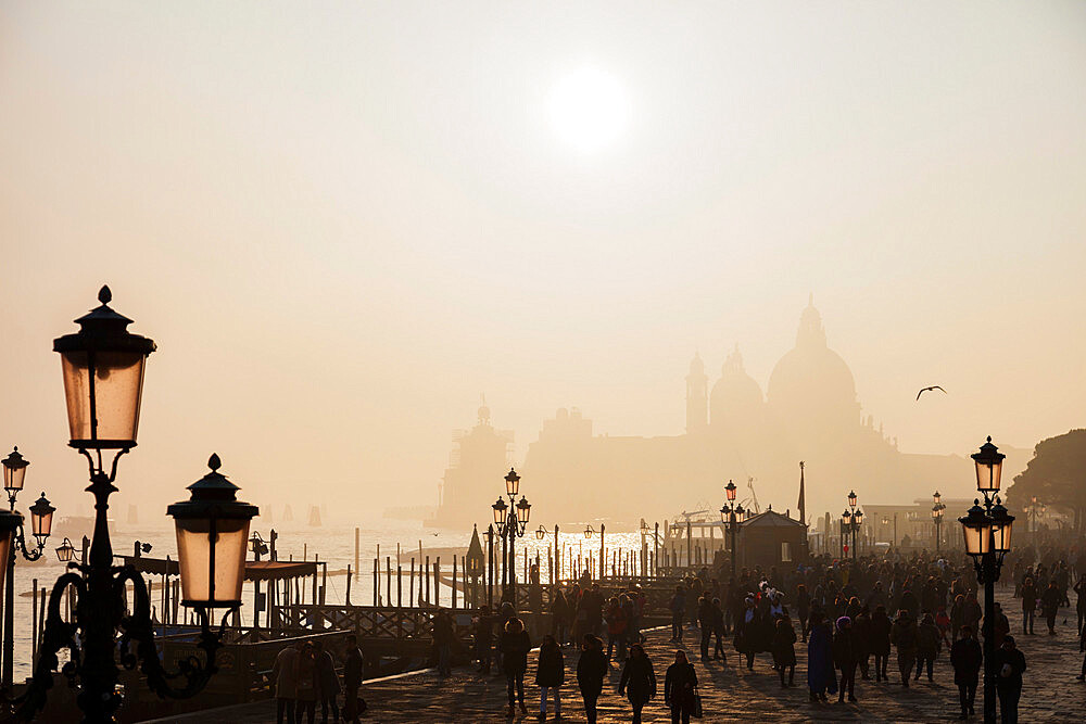 Europe, Italy, Venice, Unesco World Heritage Site, Basilica of Saint Mary in the mist at San Marco's St Marks Square