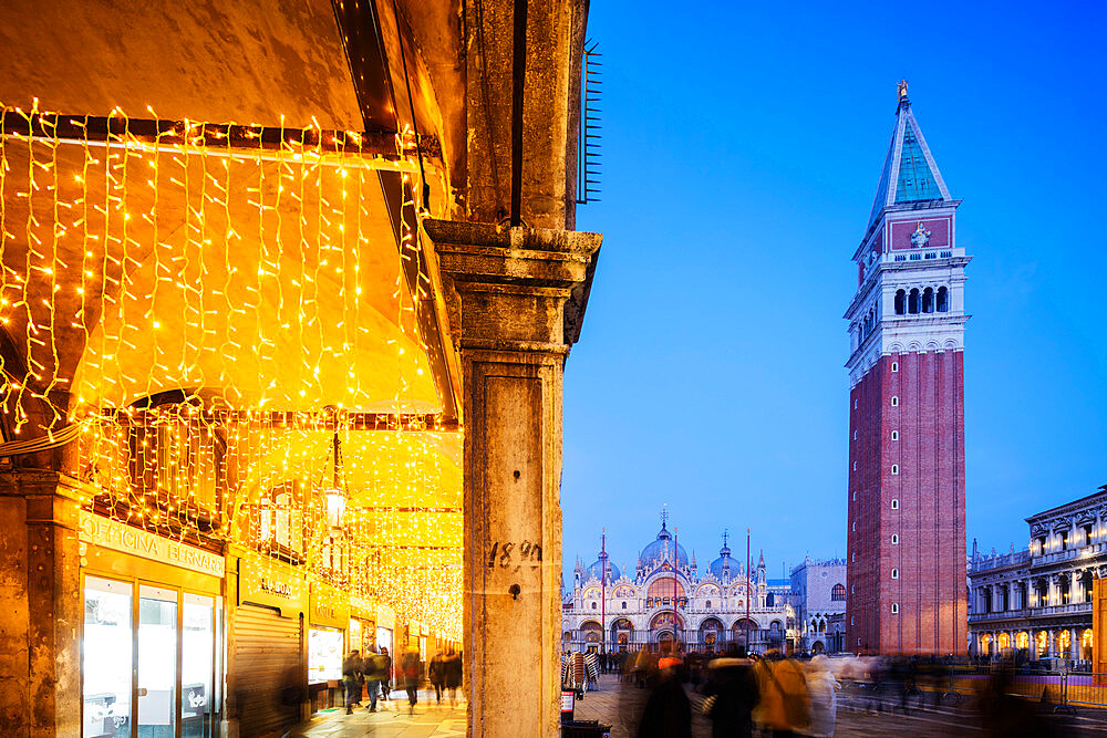 Europe, Italy, Venice, Unesco World Heritage Site, San Marco, St Marks Square, St Mark's Basilica and Campanile