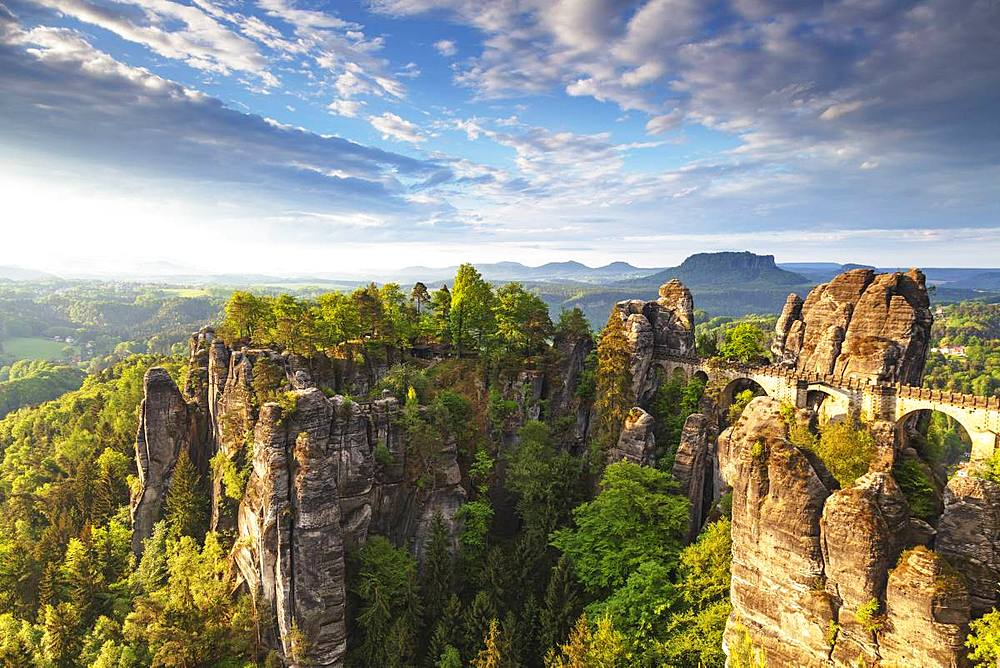 Europe, Germany, Saxony, Saxon Switzerland National Park, Bastei bridge