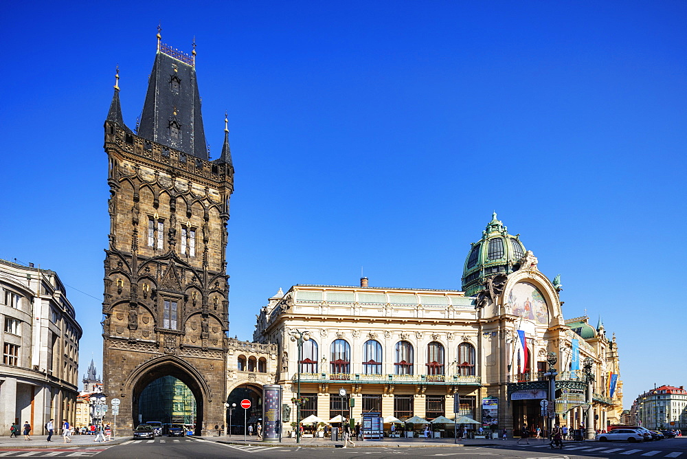 Powder Tower and Theatre, Prague, UNESCO World Heritage Site, Bohemia, Czech Republic, Europe