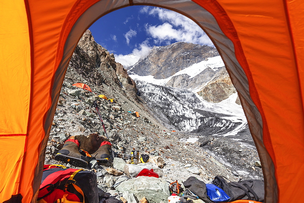 Tents at Camp 1 at 5100m on Peak Korzhenevskaya, 7105m, Tajik National Park (Mountains of the Pamirs), UNESCO World Heritage Site, Tajikistan, Central Asia, Asia