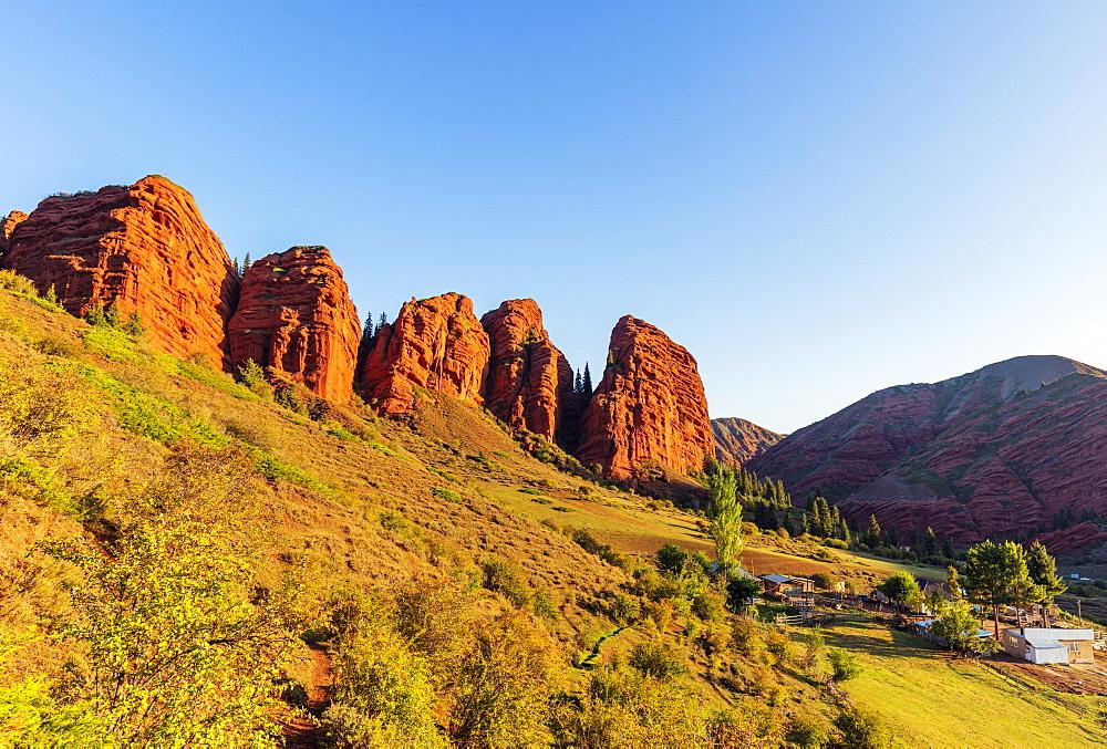 Jeti Oghuz Korort, sandstone rock formations, Karakol, Kyrgyzstan, Central Asia, Asia - 733-8079