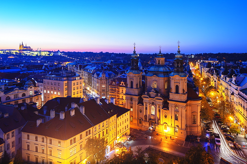 Prague Castle and St. Nicholas church, viewed from old town city hall tower, UNESCO World Heritage Site, Prague, Czech Republic, Europe