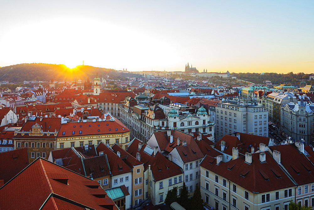 Europe, Czech Republic, Prague, Unesco site, Prague castle viewed from old town city hall tower, sunset