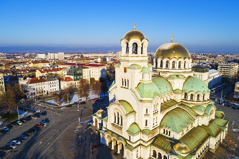 Europe, Bulgaria Sofia, aerial view of Alexander Nevsky Orthodox Cathedral in winter - 733-8387
