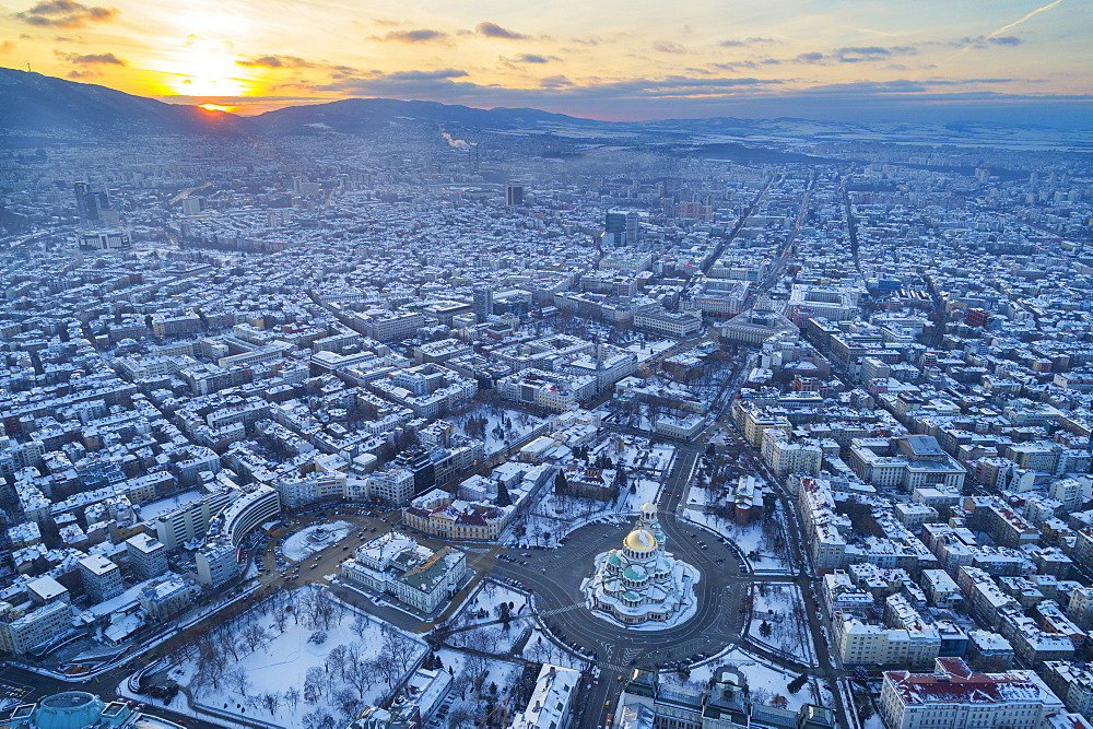 Europe, Bulgaria Sofia, aerial view of Alexander Nevsky Orthodox Cathedral in winter - 733-8388