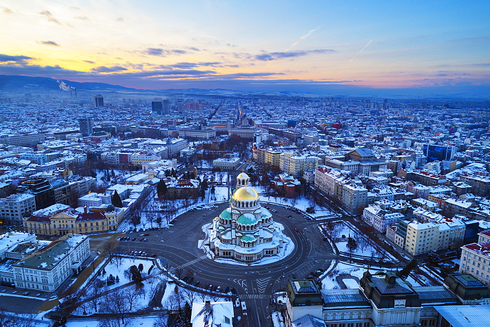 Europe, Bulgaria Sofia, aerial view of Alexander Nevsky Orthodox Cathedral in winter - 733-8389