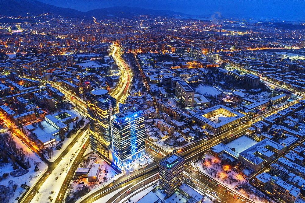 Aerial view of Sofia city center at night, Sofia, Bulgaria, Europe