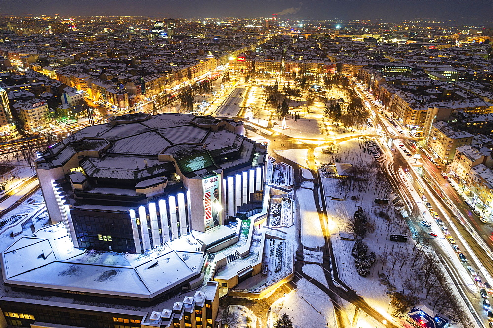 Europe, Bulgaria Sofia, aerial view of NDK National Cultural Center - 733-8391