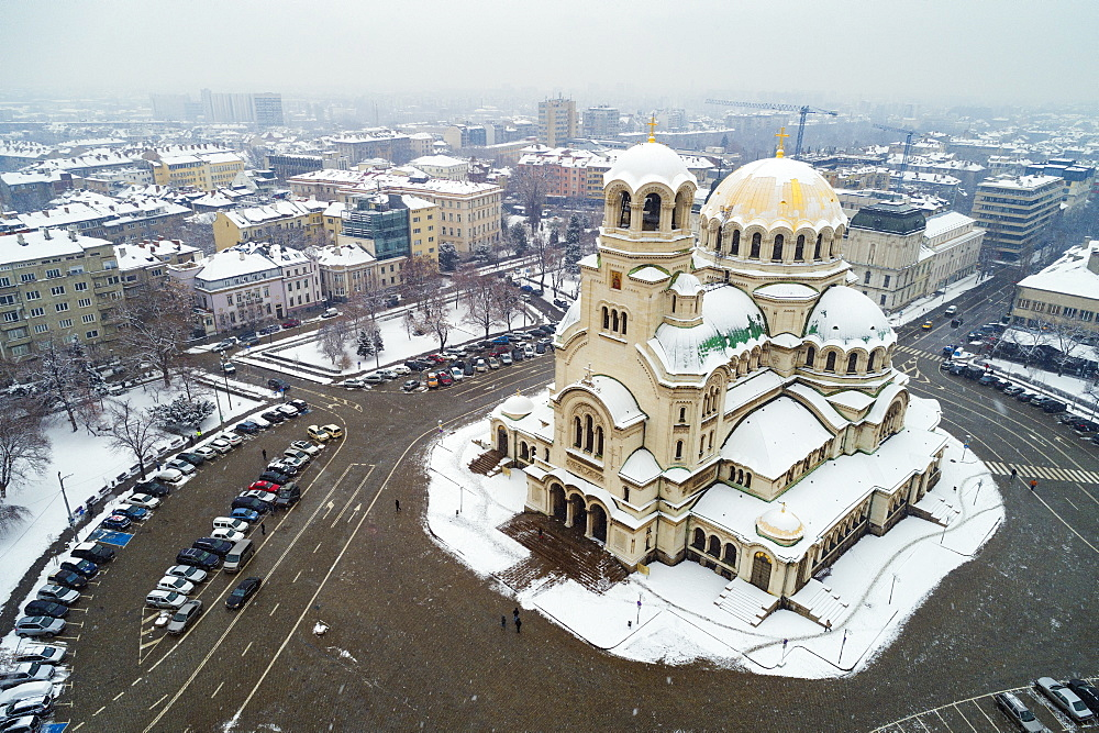 Europe, Bulgaria Sofia, aerial view of Alexander Nevsky Orthodox Cathedral in winter - 733-8392