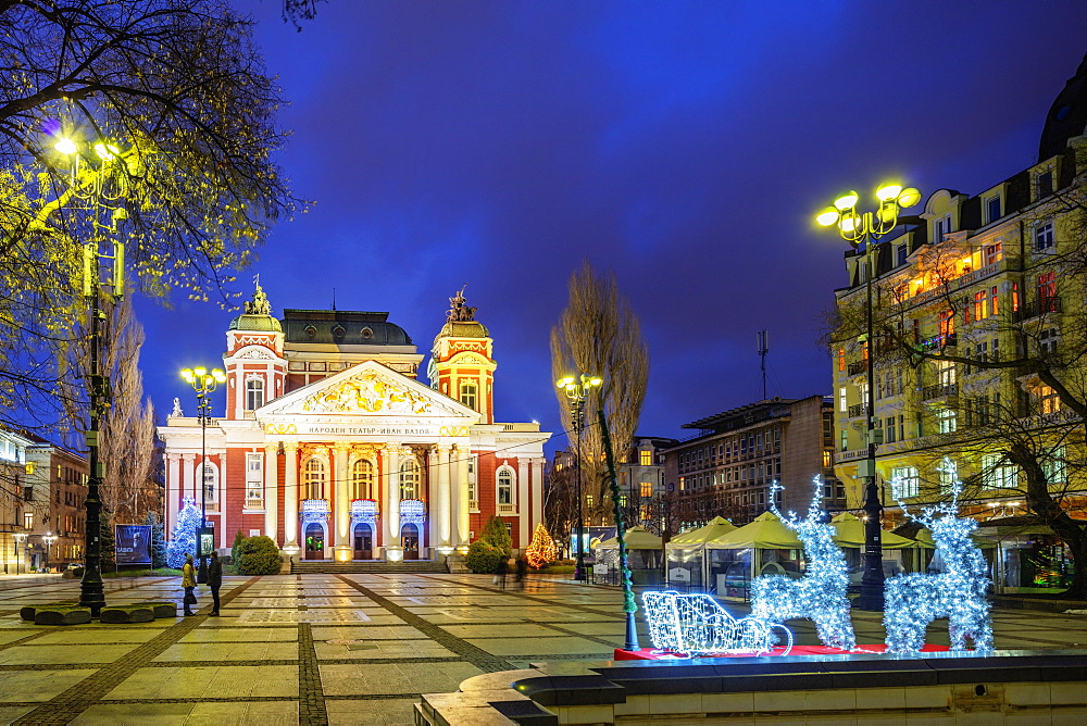 Eastern Europe, Bulgaria, Sofia, Ivan Vazov National Theatre at Christmas