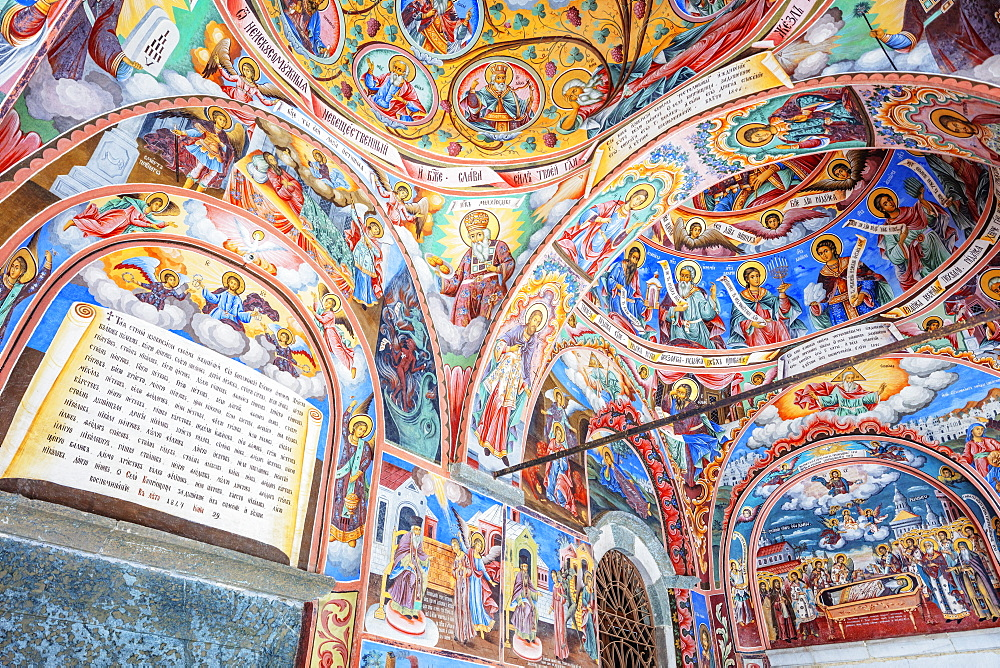 Frescoes at Church of the Nativity of the Virgin Mother, Rila Monastery, UNESCO World Heritage Site, Bulgaria, Europe