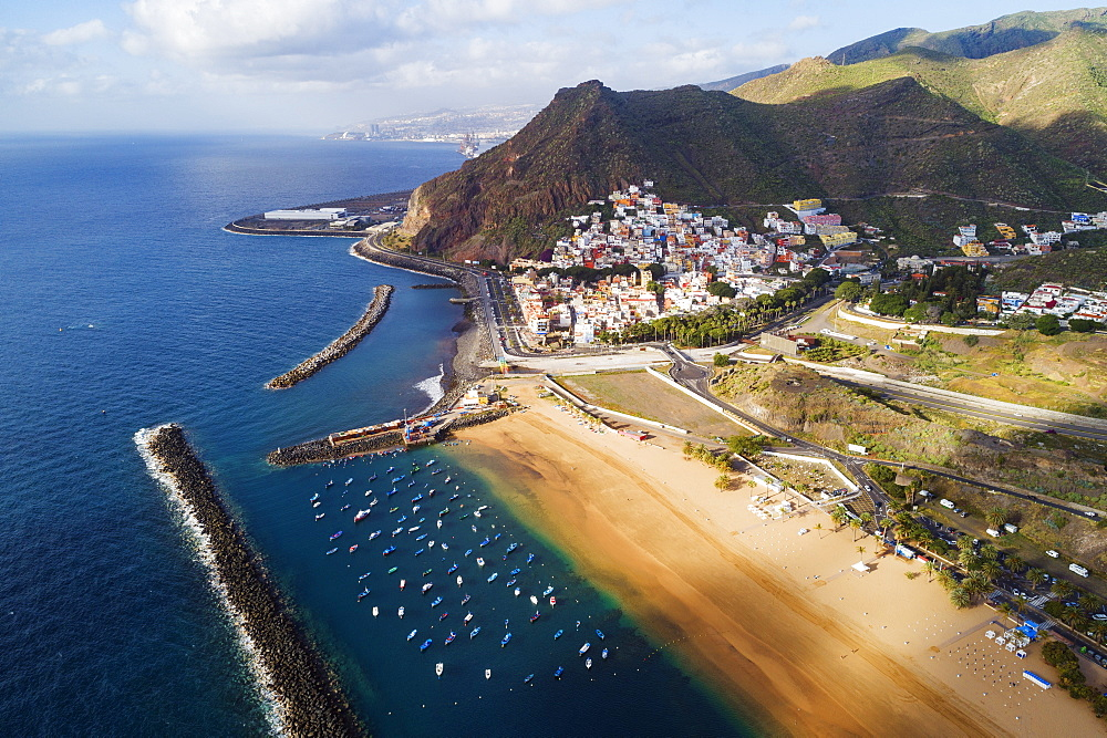 Europe, Spain, Canary Islands, Tenerife, San Andres, Playa de las Teresitas aerial view (drone) - 733-8415